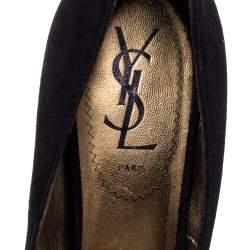 Saint Laurent Paris Black/Purple Suede Leather Pointed Toe Pumps Size 37.5