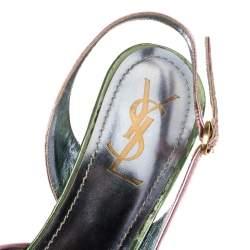 Saint Laurent Metallic Pink/Blue Patent Leather D'Orsay Slingback Pumps Size 38.5