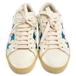 Saint Laurent White/Blue Leather And Glitter Court Classic California Sneakers Size 36