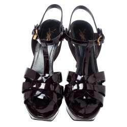 Saint Laurent Dark Burgundy Patent Leather Tribute Platform Sandals Size 40