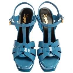 Saint Laurent Blue Patent Leather Tribute Platfrom Sandals Size 38