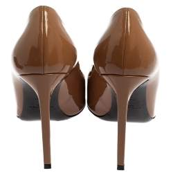 Saint Laurent Brown Patent Leather Anja Pointed Toe Pumps Size 38.5