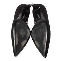 Saint Laurent Paris Black Suede Pointed Toe Pumps Size 37.5