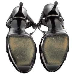 Saint Laurent Black Patent Leather Tribute Platform Sandals Size 37