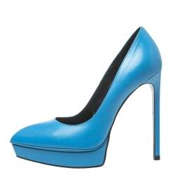 Saint Laurent Blue Leather Janis Pointed Toe Platform Pumps Size 37