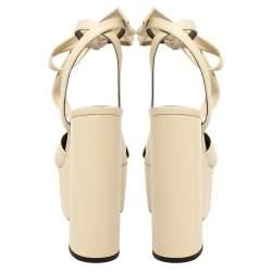 Saint Laurent Cream Leather Bianca Knot Ankle Wrap Platform Sandals Size 38