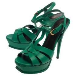 صندل سان لوران نعل سميك تربيوت جلد أخضر مقاس 39.5