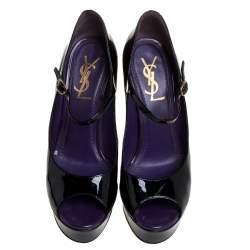 Saint Laurent Black Patent Leather Tribute Too Mary Jane Platform Pumps Size 37