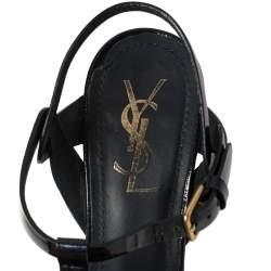 Saint Laurent Paris Blue Textured Patent Leather Tribute Sandals Size 38.5