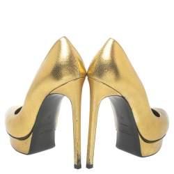 حذاء كعب عالى سان لوران باريس نعل سميك مقدمة مفتوحة غانيس جلد ذهبى ميتالك مقاس 38