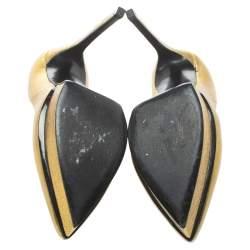 Saint Laurent Paris Metallic Gold Leather Janis Pointed Toe Platform Pumps Size 38