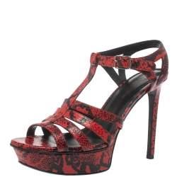 Saint Laurent Paris Red/Black Embossed Python Leather Tribute Platform Sandals Size 38