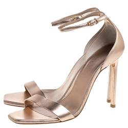Saint Laurent Rose Gold Leather Amber Ankle Strap Open Toe Sandals Size 38.5