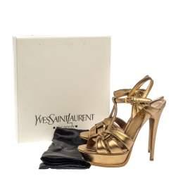 Saint Laurent Paris Gold Leather Tribute Sandals Size 39