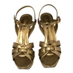 Saint Laurent Metallic Gold  Leather Tribute Platform Sandals Size 40.5
