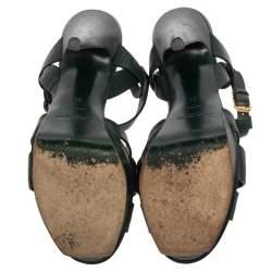 صندل سان لوران سيور كاحل نعل سميك تريبوت جلد أخضر مقاس 37