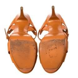 Saint Laurent Orange Patent Leather Tribute Platform Sandals Size 38.5