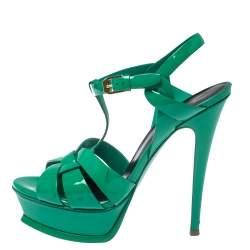 Saint Laurent Paris Green Patent Leather Tribute Sandals Size 37