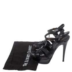 Saint Laurent Paris Black Leather Tribute Sandals Size 38
