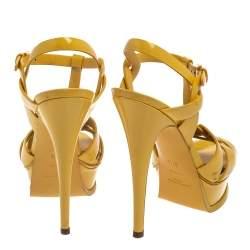 Saint Laurent Paris Yellow Patent Leather Tribute Sandals Size 37.5