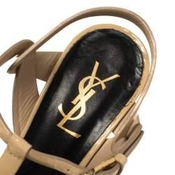 Saint Laurent Beige Patent Leather Tribute Sandals Size 37