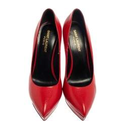Saint Laurent Red Leather Janis Pointed Toe Platform Pumps Size 39