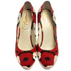 Saint Laurent Red And White Printed Canvas Wedge Platform Pumps Size 38
