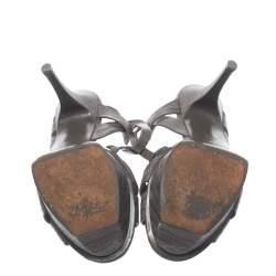 Saint Laurent Lizard Embossed Leather Tribute Sandals Size 37.5