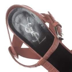 Saint Laurent Paris Rosewood Pink Lizard Embossed Leather Tribute Platform Sandals Size 37.5
