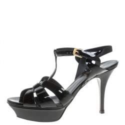 Saint Laurent Paris Black Patent Leather Tribute Platform Sandals Size 37.5