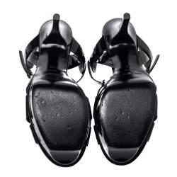 Saint Laurent Paris Black Patent Leather Tribute Sandals Size 39