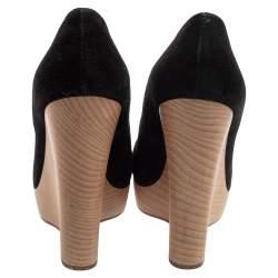 Saint Laurent Black Suede Maryna Wedge Pumps Size 40.5