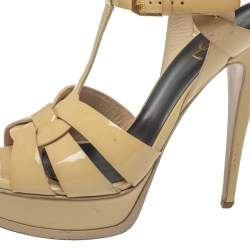 Saint Laurent Cream Patent Leather Tribute Sandals Size 39