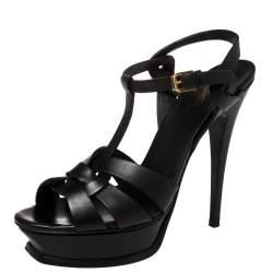 Saint Laurent Black Leather Tribute Platform Ankle Strap Sandals Size 39.5
