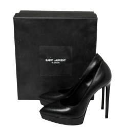 Saint Laurent Black Leather Classic Janis Platform Pumps Size 37.5