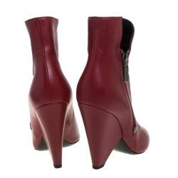 Saint Laurent Red Leather  Niki Ankle Boots Size 40