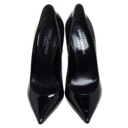 Saint Laurent Black Patent Leather Opyum Pumps Size 36.5