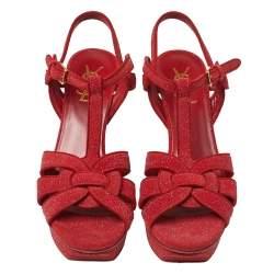 Saint Laurent Suede and Quartz Dazzling Tribute Sandals Size 37.5