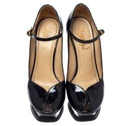 Saint Laurent Black Patent Leather Tribute Too Mary Jane Platform Pumps Size 36