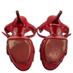 Saint Laurent Red Suede and Glitter Tribute Platform Sandals Size 37