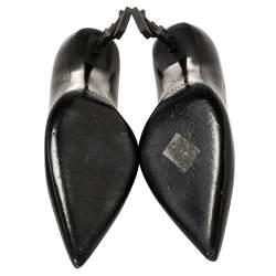 Saint Laurent Black Leather Opyum Pumps Size 37.5