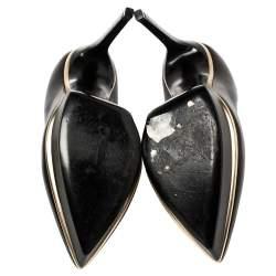 Saint Laurent Black Leather Janis Pointed Toe Platform Pumps Size 38.5