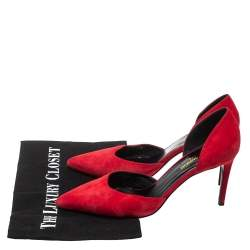 Saint Laurent Red Suede D'orsay Paris Pumps Size 38