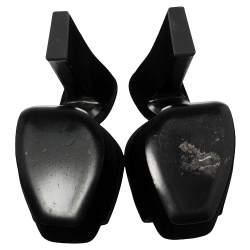 Saint Laurent Paris Black Velvet Debbie Platform Sandals Size 36