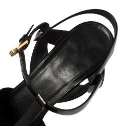 Saint Laurent Black Patent Leather Tribute Sandals Size 40