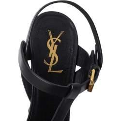 Saint Laurent Black Leather Tribute Platform Sandals Size 38
