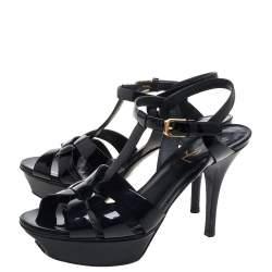 Saint Laurent Black Patent Leather Tribute Platform Ankle Strap Sandals Size 37
