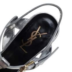 Saint Laurent Sliver Leather Tribute Sandals Size 37