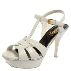 Saint Laurent White Python Embossed Leather Tribute Sandals Size 37