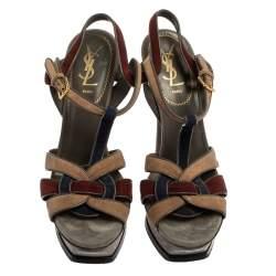 Saint Laurent Multicolor Suede Tribute Platform Ankle Strap Sandals Size 38